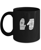Christmas Doodles Gloves Black coffee Mugs - Funny Christmas  Black coffee mugs 11 oz
