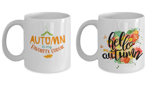 Autumn is my favorite color Coffee Mug/ Hello Autumn Coffee Mug Set -Funny White coffee mugs 11 oz