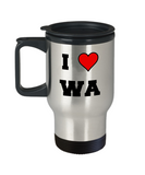 Washington Travel Coffee Mug, I Love Washington WA Abbreviation USA States Travel Mug 14 oz Stainless Steel Travel Mugs Gifts Mugs Funny Mugs