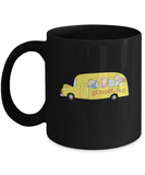 School Bus happy Black Mugs - Funny Christmas Kids Gifts Black coffee mugs 11 oz