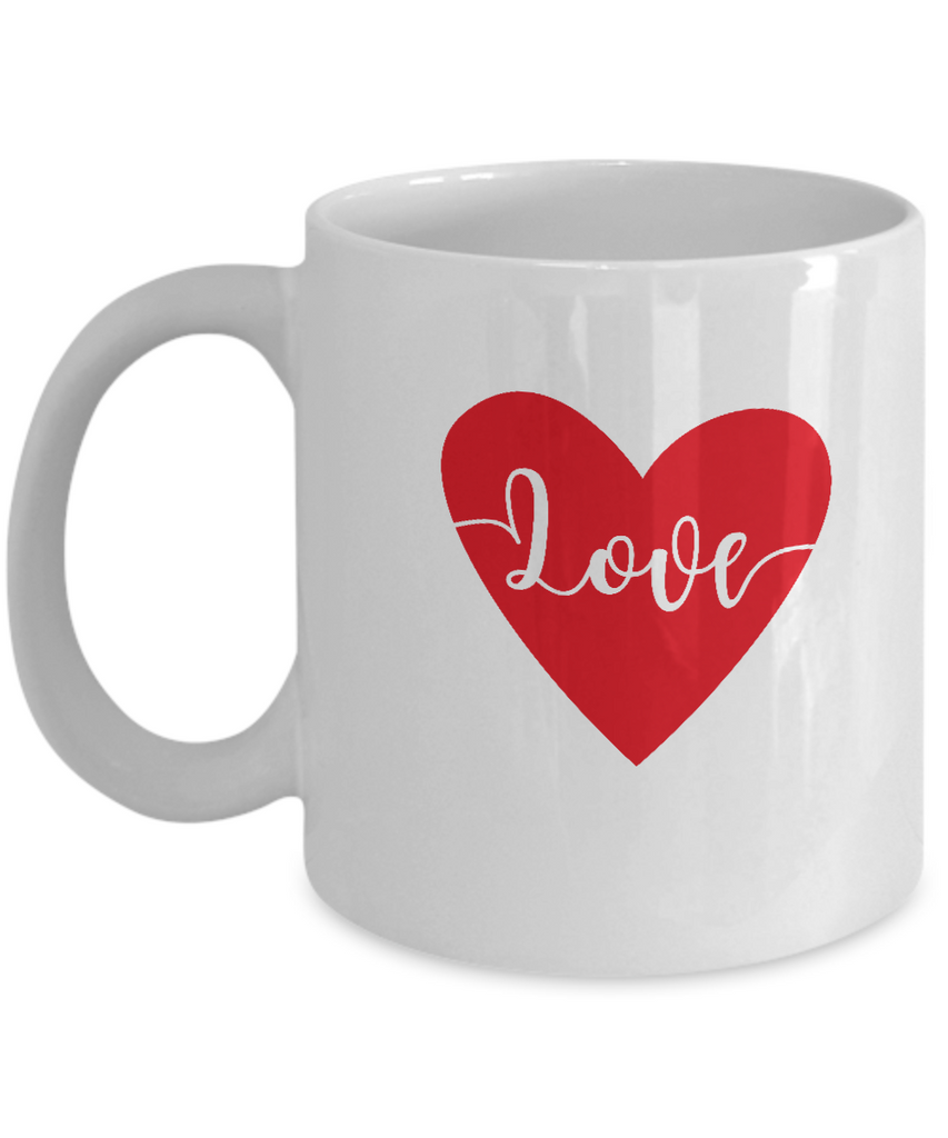 Love Heart white mugs - Funny Christmas Gifts - Funny Valentines White coffee mugs 11 oz