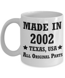 16th birthday gifts for men/women, Texas 2002 Birthday Gift Mugs - Made in 2002 All Original Parts Texas - Best 16th Birthday Gifts for family Ceramic Cup White, Funny Mugs Gift Ideas 11 Oz
