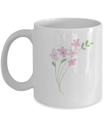 Bouquet Sprigs Pink 2 Textured Coffee Mugs - Funny White coffee mugs 11 oz