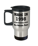 21st birthday gifts for her - Made in 1998 All Original Parts California - Best 21st Birthday Gifts for family Travel Mugs, Funny Mugs Gift Ideas 14 Oz