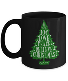 Knightmare before christmas mug - Joy Love Peace Believe Christmas - Funny Christmas Gifts Mugs, Christmas Gifts for family Ceramic Cup Black, Funny Mugs Gift Ideas 11 Oz