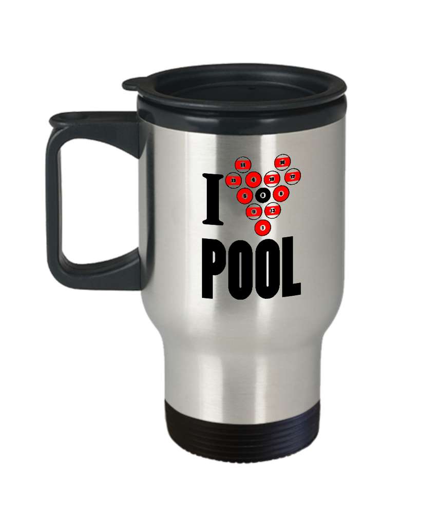 I love pool travel mugs for billiards pool lovers and gaming fans - Travel Mug 14 oz