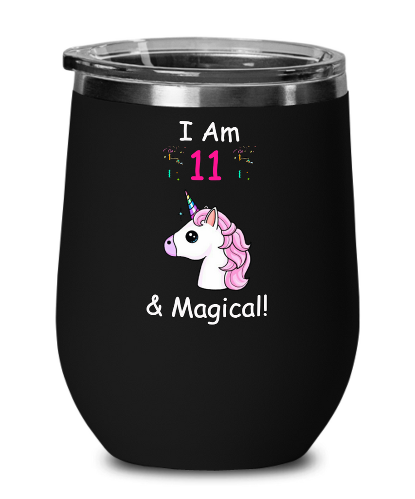 11 year old girl gifts funny unicorn farts mugs, 11 and Magical - Wine Glass
