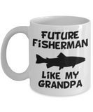 Future Fisherman Like My Grandpa Coffee Mug - White Porcelain White coffee mugs 11 oz