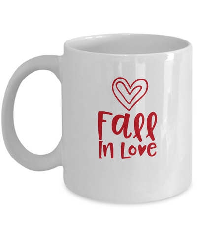Fall in love Valentines coffee Mugs - Funny Valentines day Gifts - Funny  White coffee mugs 11 oz