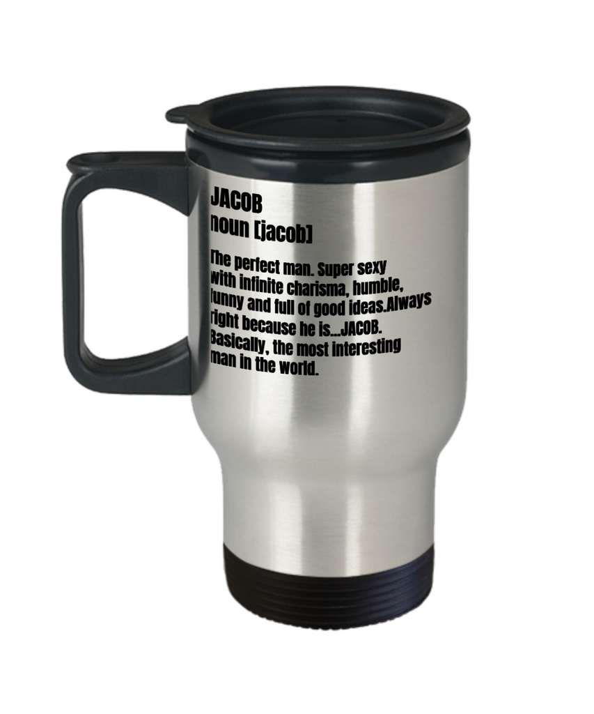 Funny Mug- Adult Definition - First Name Jacob Men Funny Travel Mug, Premium 14 oz Travel Coffee cup