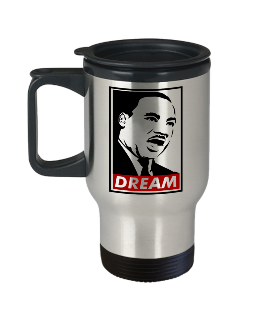 Martin luther king mugshot Dream - Funny Travel Mug, Premium 14 oz Travel Coffee cup