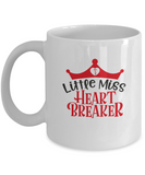 Little miss heart breaker white mugs - Funny Christmas Gifts - Funny White coffee mugs 11 oz