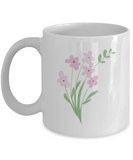 Bouquet Sprigs Pink Textured Coffee Mugs - Funny  White coffee mugs 11 oz