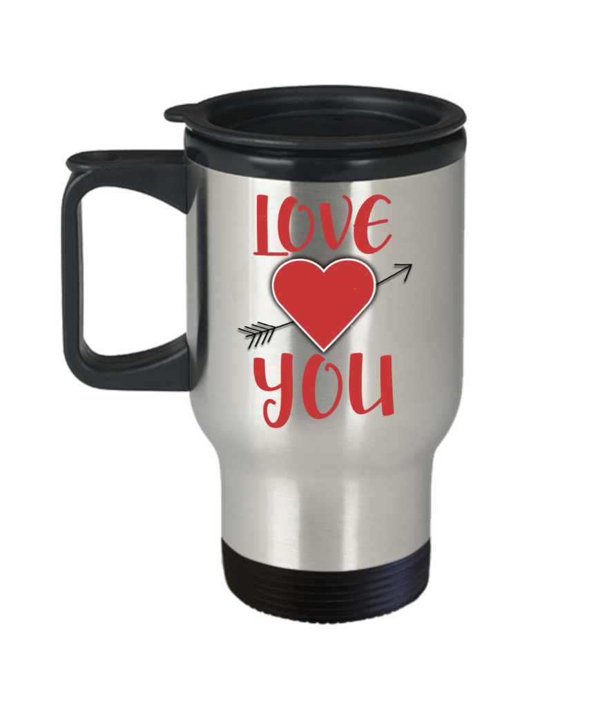 Aneversery gift - Love you - Funny Travel Mug, Premium 14 oz Travel Coffee cup