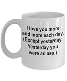 Funny couples coffee cups -Funny Christmas Gifts - Porcelain Coffee Mug Cute Cool Ceramic Cup Black, Best Office Tea Mug & Birthday Gag Gifts 11 oz