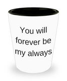 One year anniversary gifts for boyfriend funny shot glass - You will Forever Be My Always - Shot Glass Premium Gifts Ideas