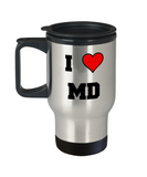 Maryland Travel Coffee Mug, I Love Maryland MD Abbreviation USA States Travel Mug 14 oz Stainless   Steel Travel Mugs Gifts Mugs Funny Mugs