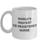 World's Okayest Certified Emergency Registered Nurse - Porcelain White coffee mugs 11 oz