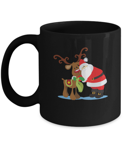 Antler Cow Santa coffee Mugs - Valentines day Gifts - Christmas Gifts Funny Black coffee mugs 11 oz