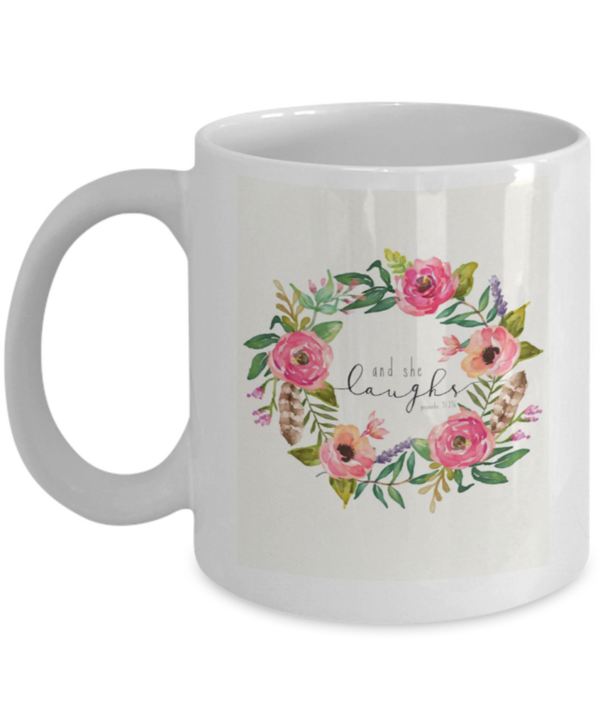 Bible verse mugs for women , And she laughs - White Coffee Mug Porcelain Tea Cup 11 oz - Great Gift