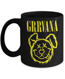 Gift gor animals lovers , Grrvana - Black Coffee Mug Porcelain Tea Cup 11 oz - Great Gift