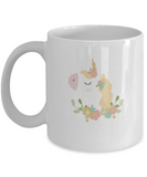 Floral Shy Unicorn white mugs - Funny Christmas Gifts - White coffee mugs 11 oz