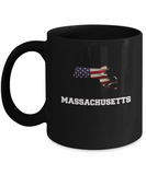 I Love Massachusets  Coffee mug sets - 11 OZ Black coffee mugs  State Love Funny Gift Idea Cup