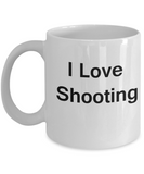 I Love Shooting coffee mug - Porcelain White Funny Coffee Mug, White coffee mugs 11 oz