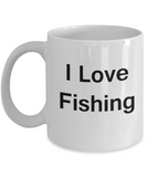 Fishing Lovers Gifts Mugs - I Love Fishing - Valentines Gifts White coffee mugs 11 oz