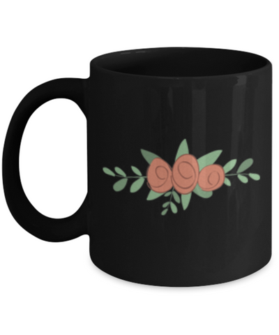 Bouquet Roses Textured Black Mugs - Funny  Black coffee mugs 11 oz