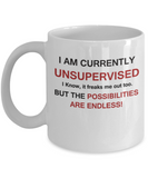 I am currently unsupervised, but possibilities are endless White coffee mugs 11 oz