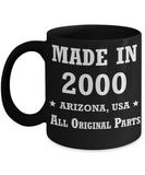 19th birthday gifts for women - Made in 2000 All Original Parts Arizona - Best 19th Birthday Gifts for family Ceramic Cup Black, Funny Mugs Gift Ideas 11 Oz
