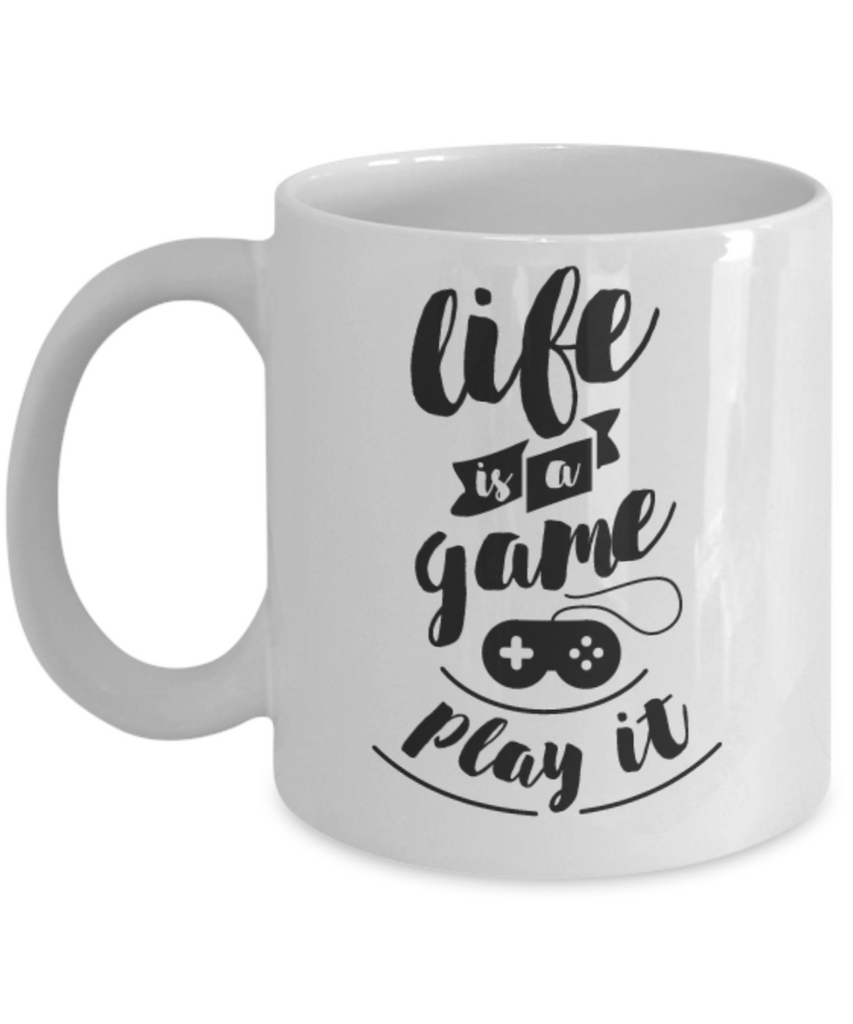 Life Is A Game Mug Coffee Cup -Funny Ceramic White Coffee Mug - Premium 11 oz Coffee Cup