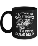 Beer Lovers Gifts , Fishing and Beer - Black Coffee Mug Porcelain Tea Cup 11 oz - Great Gift