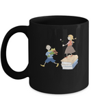 Boy and Girl Black Mugs - Christmas Kids Gifts - Porcelain Black coffee mugs 11 oz
