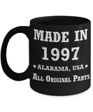 Inapropriate birthday gifts - Alabama Born 21st birthday gifts for men/women - Made in 1997 All Original Parts Alabama - Best 21st Birthday Gifts for family Ceramic Cup Black, Funny Mugs Gift Ideas 11 Oz