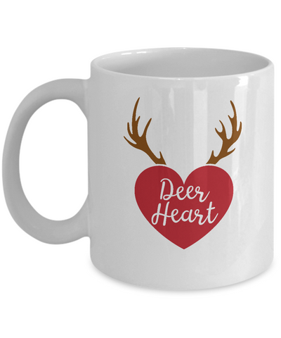 Deer Heart valentine coffee Mugs - Funny Valentines day Gifts -  White coffee mugs 11 oz