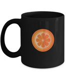 Orange cut Black Mugs - Funny Christmas Gifts - Porcelain Black coffee mugs 11 oz