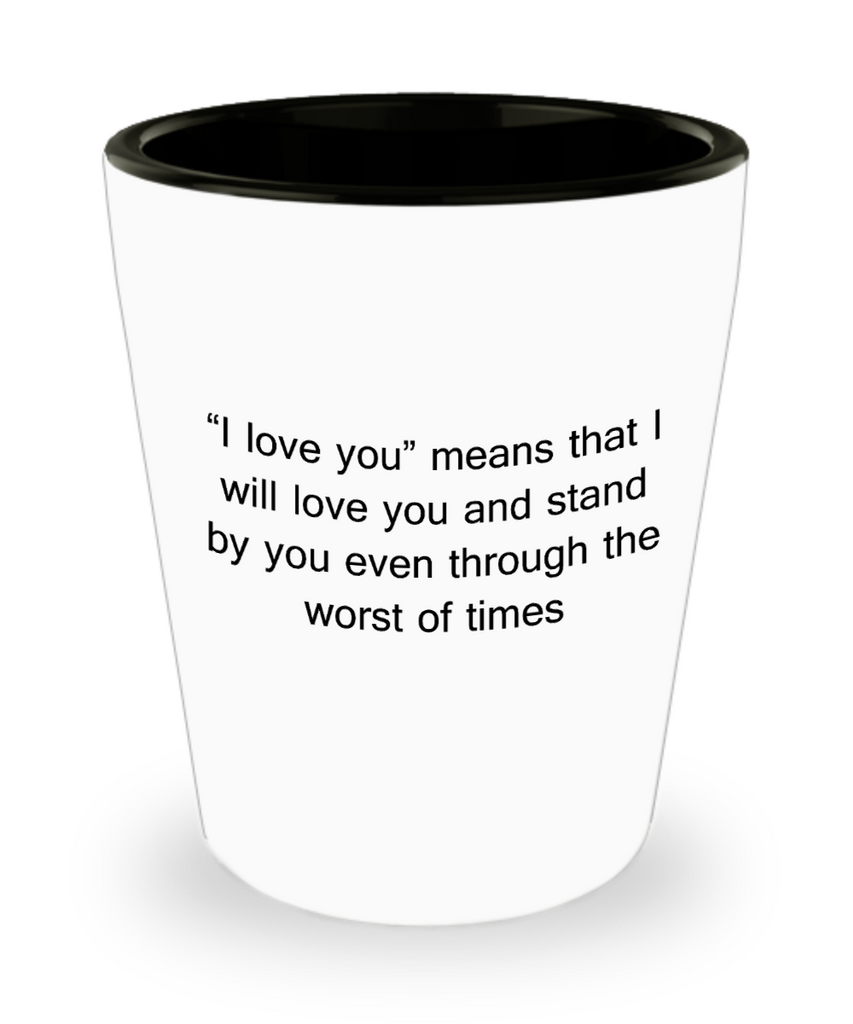 One year anniversary gifts for boyfriend funny shot glass - I Love you and Stand By You - Shot Glass Premium Gifts Ideas