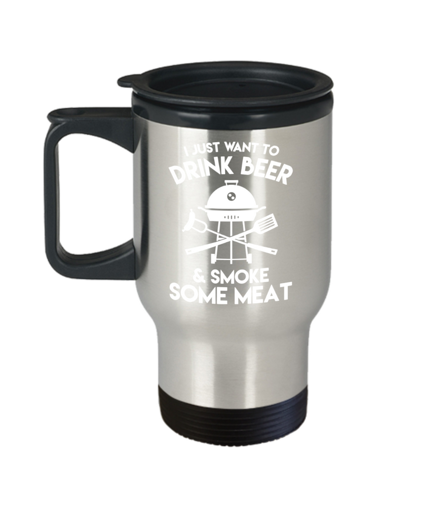Beer Lovers Gifts , Drink Beer and Meat - Stainless Steel Travel Insulated Tumblers Mug 14 oz - Great Gift
