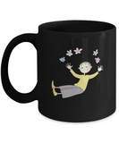 Boy with stars Black Mugs - Funny Christmas Kids Gifts - Black coffee mugs 11 oz