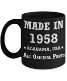 Inapropriate birthday gifts - Alabama Born 60th birthday gifts for men/women - Made in 1958 All Original Parts Alabama - Best 1st Birthday Gifts for family Ceramic Cup Black, Funny Mugs Gift Ideas 11 Oz