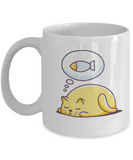 Gift gor cat lovers , Cats dreams fish - White Coffee Mug Porcelain Tea Cup 11 oz - Great Gift