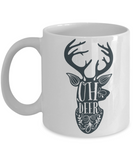 Knightmare before christmas mug - Oh Deer - Funny Christmas Gift Mugs, Christmas Gifts for family Ceramic Cup White, Funny Mugs Gift Ideas 11 Oz