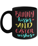 Easter bunny mugs - Bunny kisses & Easter Wishes - Funny Black Porcelain Coffee Mug Cute Ceramic Cup 11 oz