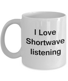 Funny Coffee Mug - I Love Shortwave Listening - Valentines Gifts - Porcelain White Funny Coffee Mug, Best Office Tea Mug & Coffee Cup Gifts 11 OZ