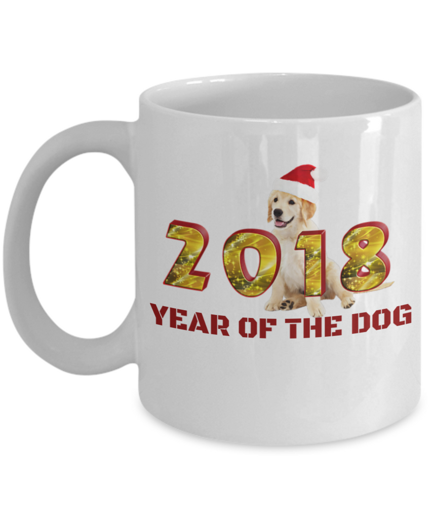 Funny Golden Retriever Gifts Year of the Dog Golden Retriever Gifts White mugs 11 oz