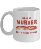 Food Lovers mugs , Meat is Murder - White Coffee Mug Porcelain Tea Cup 11 oz - Great Gift