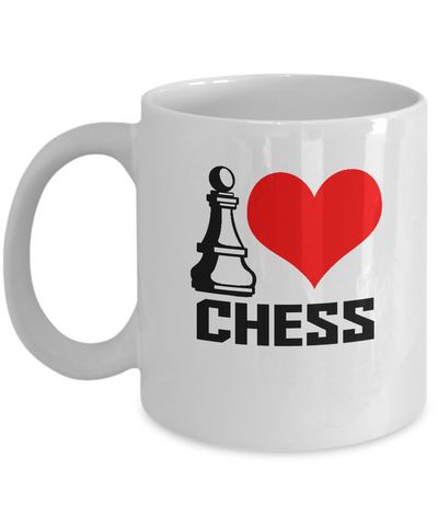 I love Chess coffee mugs for chess lovers and gaming fans White coffee mugs 11 oz