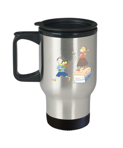 Boy and Girl travel mugs - Funny Christmas Kids Gifts - Porcelain 14 oz Travel mugs